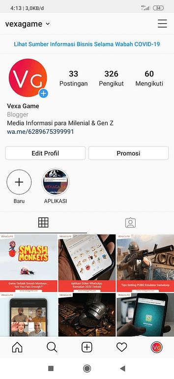 Contoh shortlink whatsapp di aplikasi Instagram