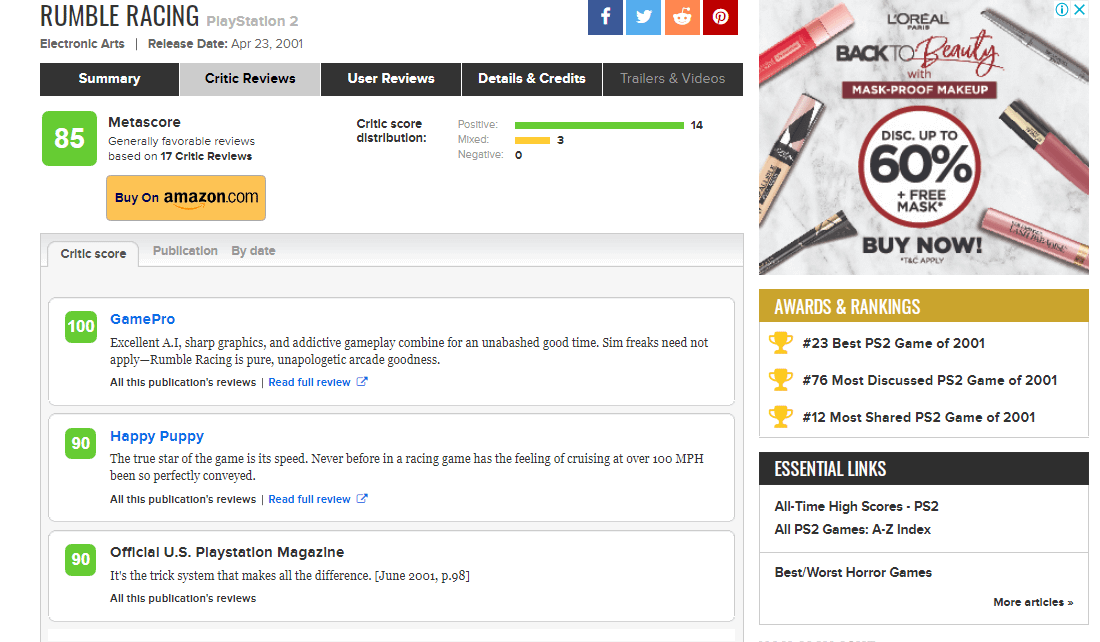 Nilai Game Rumble Racing di metacritic.com