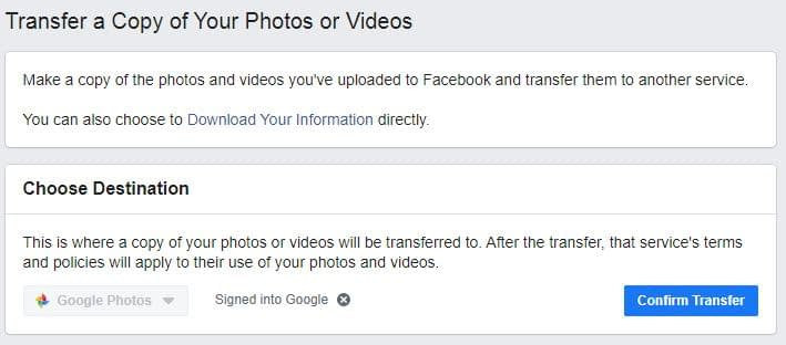 Transfer Foto Facebook ke Google Photo