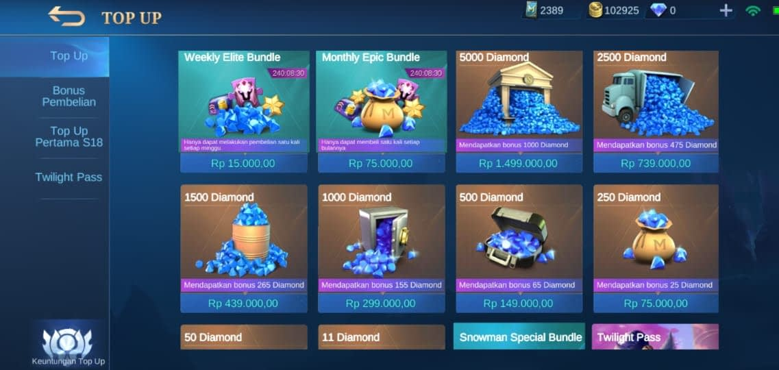 Cara Top-up Diamond Mobile Legends