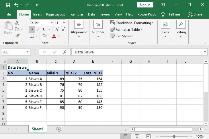 cara mengubah excel ke pdf