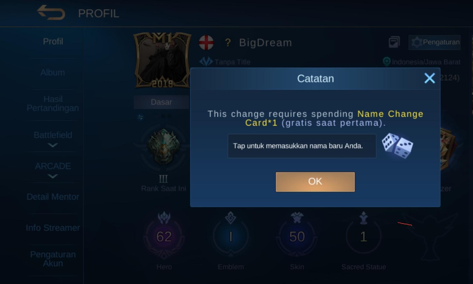Cara Ganti Nama Mobile Legends